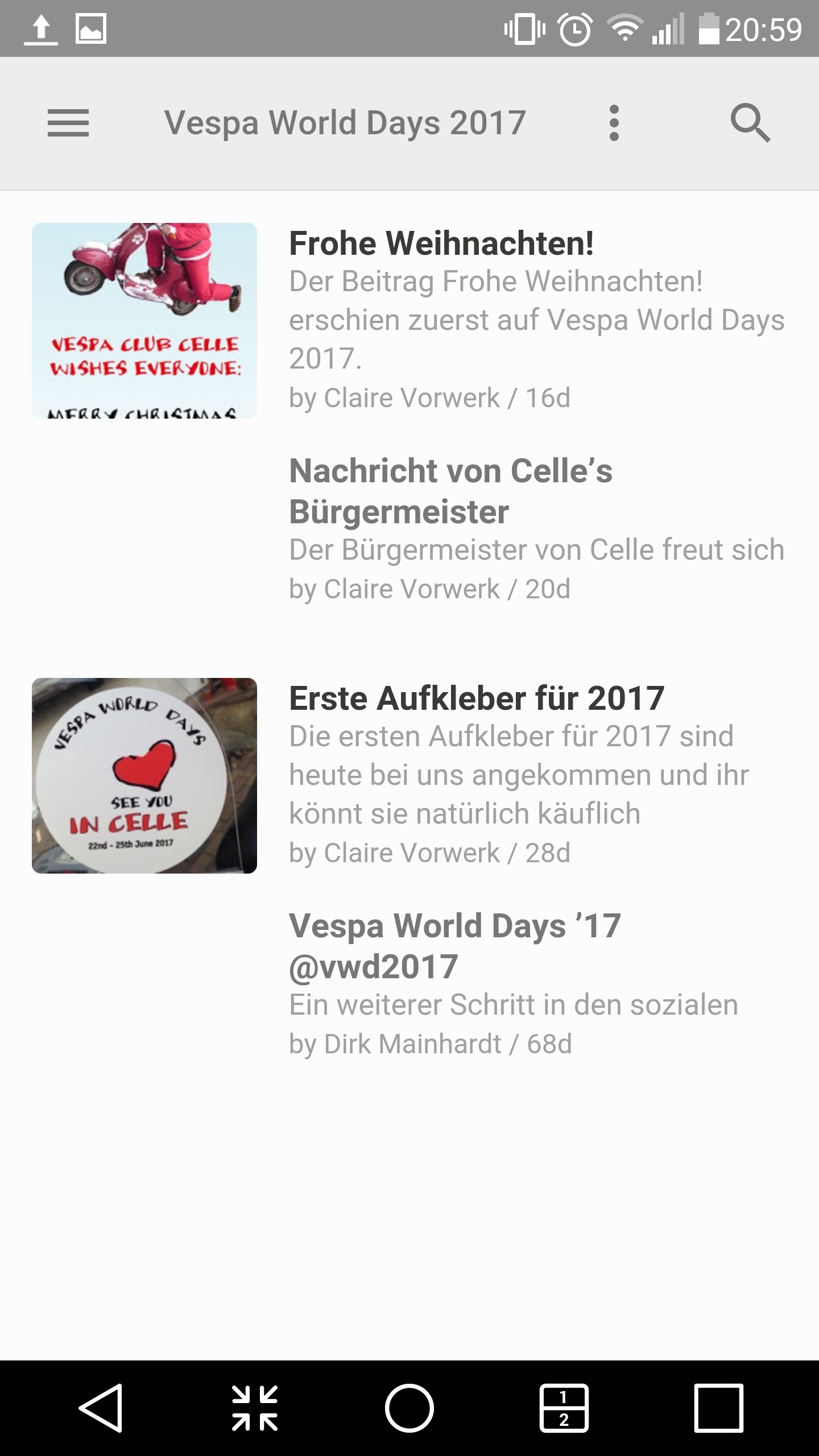 Weihnachtsessen Celle.Subscribe To News Vespa World Days 2017