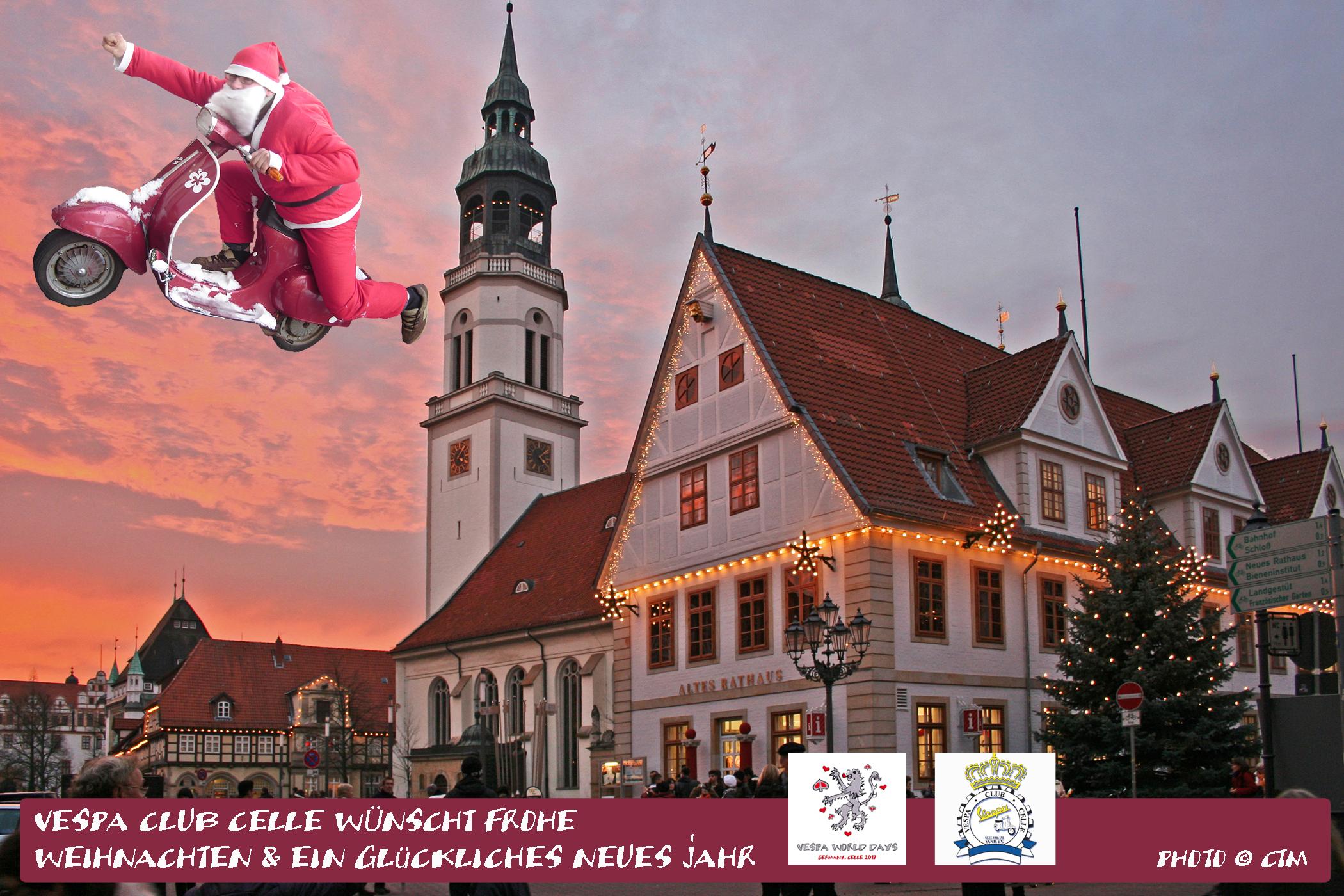 Weihnachtsessen Celle.Frohe Weihnachten Ein Glückliches Neues Jahr Vespa World Days 2017